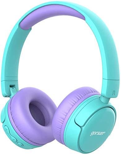 gorsun Wireless kids headphones with 85dB volume regulator, Children's Wireless Bluetooth Headphones with Microphone, Foldable bluetooth Stereo over-Ear kids headsets