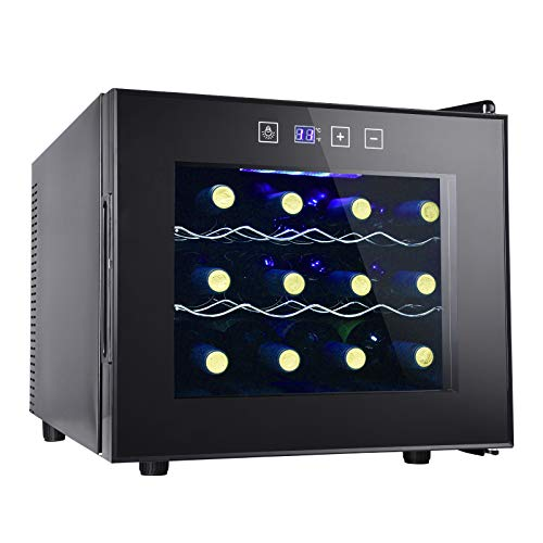 12 Bottle Wine Cooler Refrigerator- Freestanding Wine Cellar for Red, White, Champagne or Sparkling Wine,Compressor Wine Chiller Digital Temperature Control Fridge Glass Door - Black
