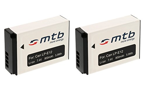 2X Batería LP-E12para Canon 100D, EOS M Mirrorless, EOS Rebel SL1