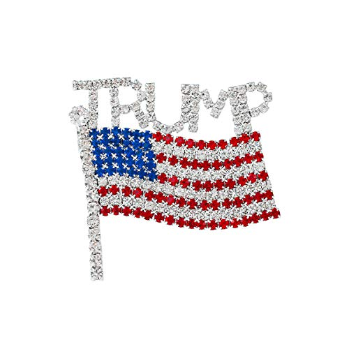 WeimanJewelry Sparkly Rhinestone Crystal Republican Party Trump American Flag Political Brooch Pin for Fans