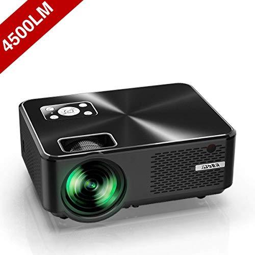 Vidéoprojecteur, YABER Mini Projecteur Portable 4500 Lumens Résolution Native 1280*720p, Retroprojecteur avec Haut-parleurs...