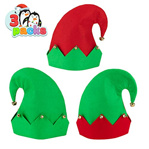 3 Packs Christmas Elf Felt Hat Christmas Holiday Party Hats Featuring One Size fits Most Unisex Hats for Jingle Bells Kids, Teens, Adults Green