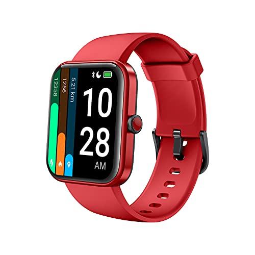 Smartwatch Uomo donno, AKWLOVY Orologio Fitness tracker Contapassi Alexa Integrato Cardiofrequenzimetro 1.69   Schermo, 5ATM, Modalità Nuoto, Saturimetro (SpO2) Monitora sonno per Android iOS Rossa