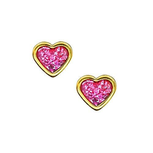 Studex Sensitive Boucles d'oreilles à tige en forme de cœur - Avec paillettes roses au centre, plaquées or - 6 mm