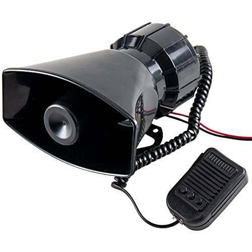 BeMatik - Megáfono de 60W con Tres Tonos de Sirenas. Altavoz Fijo de 155 x 90 mm