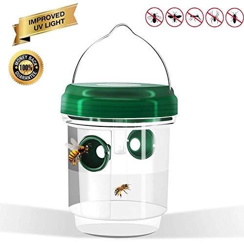 velidy Wespenfalle Catcher, Life Outdoor Solar Powered Falle mit mit UV-LED-Licht für Bienen, Wespen, Hornissen, gelb Jacken, wiederverwendbar