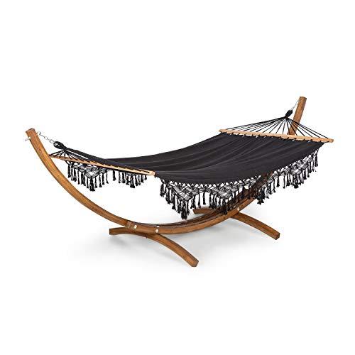 blumfeldt Bali Swing - Hamaca, Carga máxima 160 kg, Madera de alerce, Tejido Resistente de 320 g/m², 65% algodón, 35% de poliéster, Se Adapta a la Forma del Cuerpo, 200 x 150 cm, Borlas, Negro