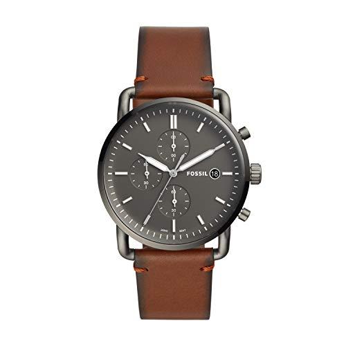 Fossil Herren Chronograph Quarz Uhr mit Leder Armband FS5523