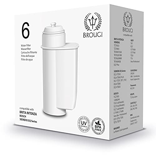 6 x BROUGI Ersatz Filter für Bosch TCZ7003 TCZ7033 für Kaffeevollautomat Kaffeemaschine Siemens tz70033 Brita Intenza Wasserfilter EQ Series EQ6 EQ7 Plus EQ8 EQ9 Wasser Filter Patrone 6er Pack