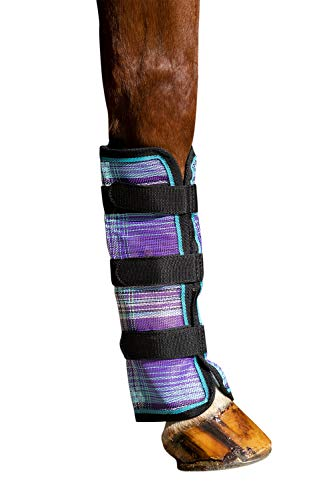 Kensington Natural Horse Fly Boots - Web Trimmed - Stay-Up Technology - Protection from Insect Bites and UV Rays - Sold in Pairs (2 Boots) - Large - Lavender Mint