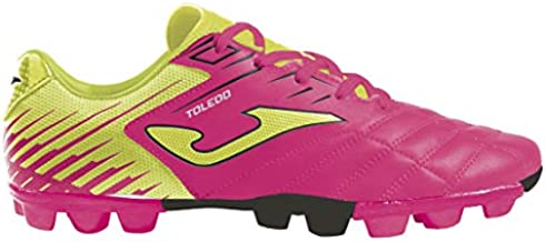 Joma Kids' Toledo JR MD 24 Soccer Shoes (8 Toddler, Neon Pink/Neon Yellow/Black)