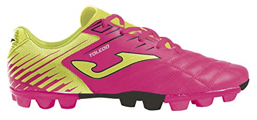 Joma Kids' Toledo JR MD 24 Soccer Shoes (7 Toddler, Neon Pink/Neon Yellow/Black)
