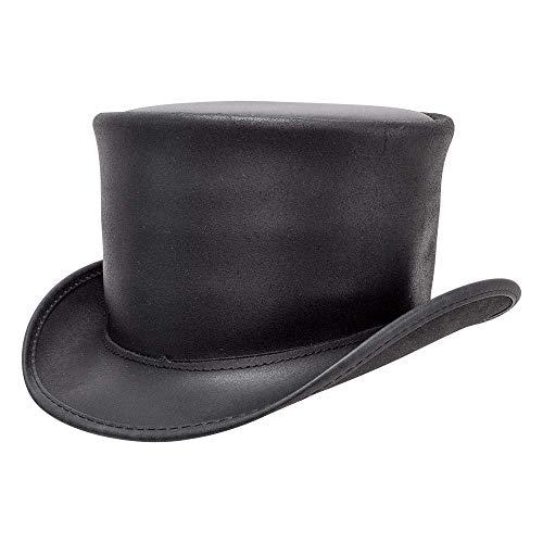 Voodoo Hatter El Dorado Unbanded Black or Brown Leather Top Hat