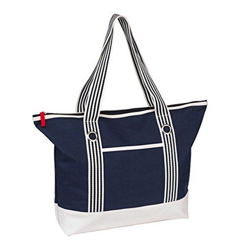 Strandtasche Marlene Maritimer Look Schultergurte mit dekorativer Metallöse und wasserabweisender Boden