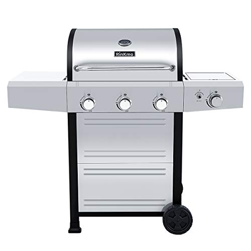 RINKMO Gas Grill, 2020 Upgrade 670 sq inch 3 Propane Burner 36,000 BTU-per-Hour Input Stainless Steel Propane Grill, Movable BBQ 3-Burner Liquid Propane Grill with Side Burner, Cart Style Grills Propane