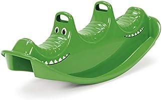 Dantoy - Dondolo e altalena per 3 persone - In plastica resistente - Con 3 posti - Prodotto in Danimarca - Verde coccodrillo