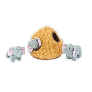 ZippyPaws – Zoo Friends Burrow, Interactive Squeaky Hide and Seek Plush Dog Toy