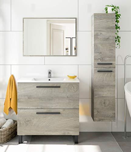 Miroytengo Pack de baño Athena Color Roble Alaska Estilo Industrial Moderno (Mueble, Espejo, Lavabo y Columna)