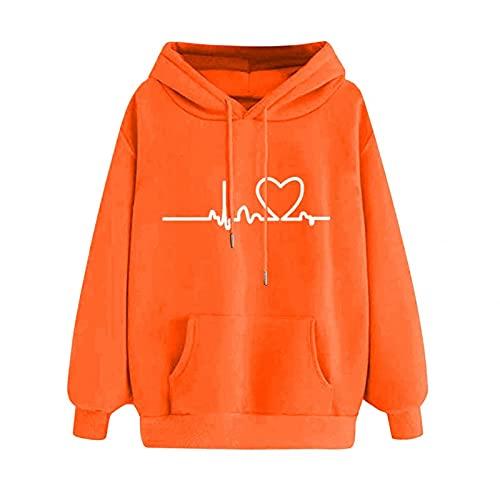 2021 Sudadera con capucha para mujer, de gran tamaño, con estampado de EKG, monocolor, con cordón, para el tiempo libre, para mujer, otoño, corte regular, S, M, L, XL y XXL, naranja, M
