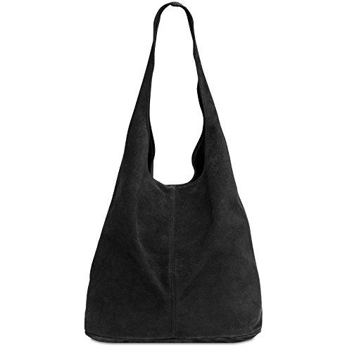 Caspar TL767 großer Damen Leder Shopper, Farbe:schwarz, Größe:One Size