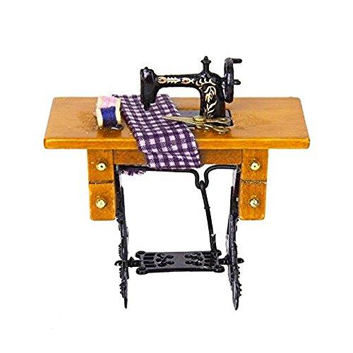 Máquina de coser decorativa en miniatura con tijeras de tela, estilo vintage de 1/12 Dollhouse