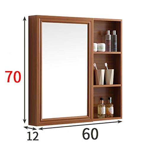 Mirror Wandmontierter Badezimmerspiegelschrank, Aluminium Multifunktions-Aufbewahrungsspiegelschrank, geeignet für Badezimmerschlafzimmer Home Hotel verdeckter Kosmetikspiegel ZDDAB