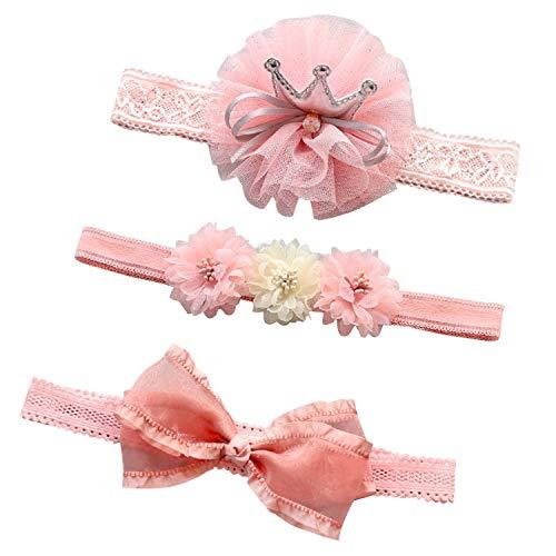 Boodtag Lot de 3 Serre-Tête Bébé Fée Fleurs Bandeaux Filles Petite Princesse Accessoires Cheveux Enfant Cadeau Kit pour 0-2 Ans (Style F)