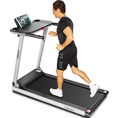 FUNMILY Folding Treadmill, 2.25HP Folding Treadmill with Large Desk and Bluetooth Speaker, Portable Compact Treadmill with 12 Pre-Set Programs and 16.5 Inch Wide Tread Belt,265 LB Max Weight (Navy) by FUNMILY
