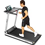 FUNMILY Folding Treadmill, 12 preset Programs, 2.25Hp Treadmills with Large Desk and Bluetooth Speaker, Best Jogging Walking Running Motorized Exercise Machine for Home Gym Office Workout (Gray)