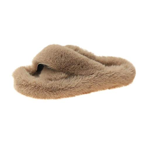 Zquest Zapatillas de Piel de Fondo Plano Cruzadas de otoño/Invierno, Zapatillas de Gran tamaño-Khaki_40