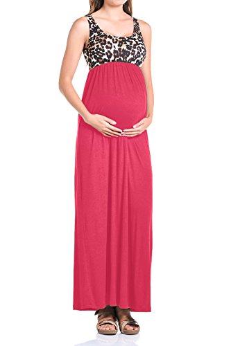 Beachcoco Women's Maternity Sleeveless Maxi Empire Waist Printed Tank Dress(M, Black)