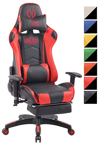 CLP Silla Racing Sports Turbo XFM En Cuero PU I Silla Gaming Funcion De Masaje I Silla De Masaje con 2 Cojines I Silla Gamer Ergonomica I Color: Negro/Rojo