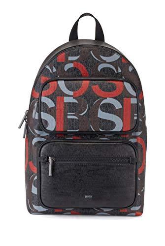 BOSS Herren Metropole AO Backp Rucksack aus beschichtetem italienischem Gewebe mit Logo und Lederbesatz Größe One Size