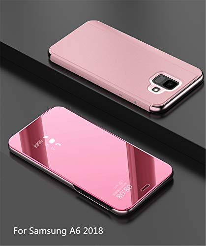 MLOTECH Compatibles Funda para Samsung A6 2018, Cover+ Cristal Templado Flip Clear View Translúcido Espejo Standing Cover Slim Fit Anti-Shock Anti-Rasguño Mirror Cubierta Oro Rosa