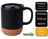 Beschreibbare 375ml Keramik-Tasse Schwarz   Kaffeetasse/Kaffeebecher mit Deckel für Spritzschutz und isoliertem Korkboden hält länger warm   to Go Becher perfekt für deinen täglichen Kaffee oder Tee