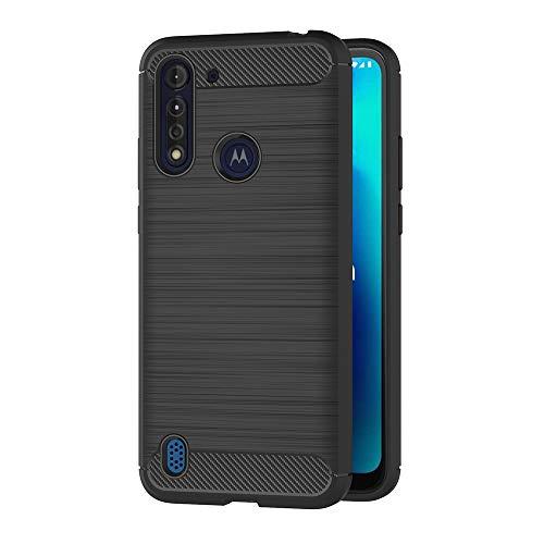 AICEK Hülle Compatible Moto G8 Power Lite Schwarz Silikon Handyhülle für Motorola Moto G8 Power Lite Schutzhülle Karbon Optik Soft Hülle (6,5 Zoll)