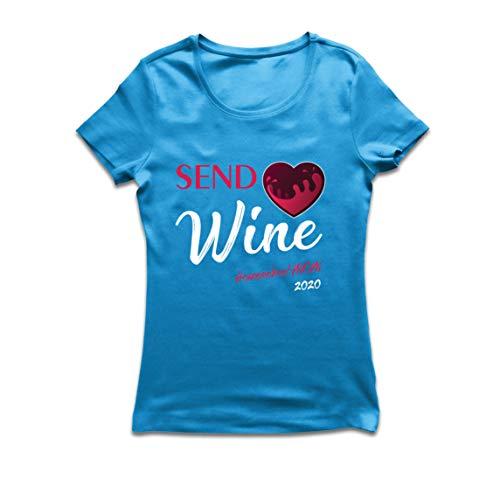 lepni.me Frauen T-Shirt Wein senden Quarantäne Heimschule Mama 2020 (Large Blau Mehrfarben)