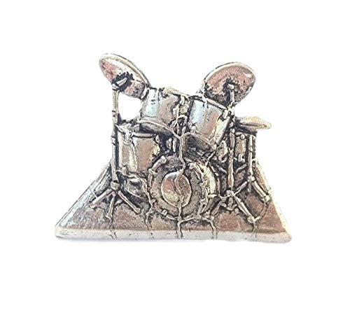 Schlagzeug Handgefertigt in Massiver Zinn in GB Revers-anstecknadel + 59mm Knopf-abzeichen + Geschenktüte
