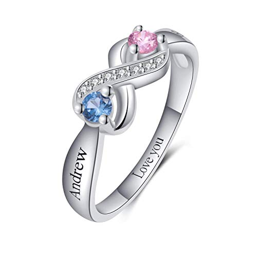 Custom Promise Infinity Rings for Her Personalized Engagement Rings for Couples Name Rings Birthstone Rings for Women Couple Wedding Ring Engraved Mothers Ring Gift for Wife Girl Friend