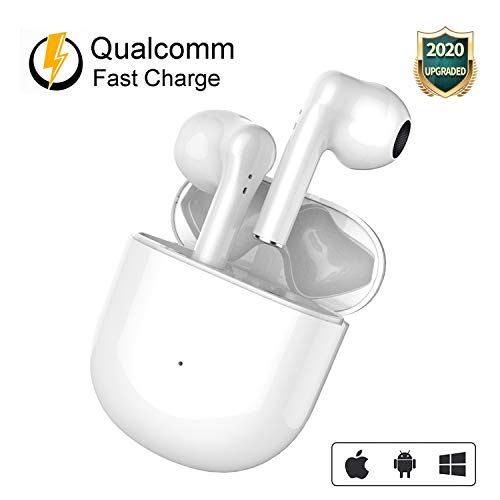 Wireless Earbuds Headphones Bluetooth 5.0 in-Ear Ear Buds True Wireless Stereo Built in Mic Noise Cancelling Charging Case Pop-Up Auto Pairing Headphone for Airpods/Airpods Pro/iPhone