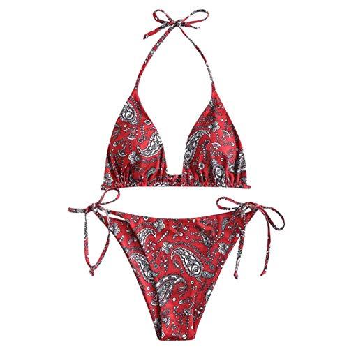 GHXCJ Traje de baño Dividido de Bikini de Tiras Floral Bohemio Sexy para Mujer
