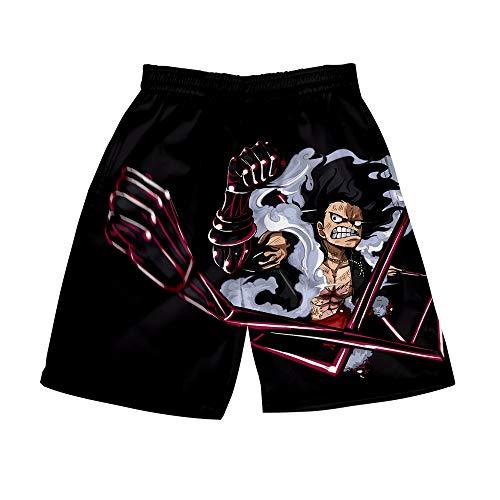 JJZZ Natación Pantalones Cortos Riman One Piece One Piece Around 3D Digital Color Printing Shorts de Kimono de Verano para Hombres Ocasionales