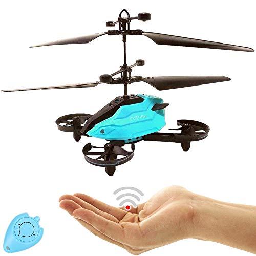 Future Kinder RC Drohne Quadrocopter Hubschrauber mit Sensorsteuerung (Blau) Einfach zu Steuern per Handbewegung Gestiksteuerung Inklusive IR Fernbedienung Drone Helicopter Quadcopter Drohne