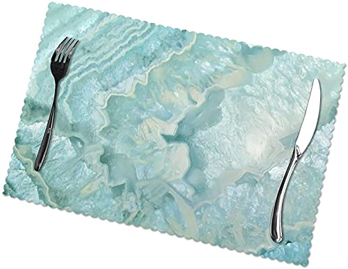Juego de 6 manteles individuales de cristal de ágata color aguamarina, pastel y verde azulado para mesa de comedor, mantel individual de vinilo tejido lavable, antideslizante, resistentes al calor, pa