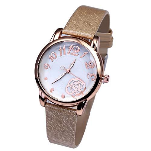 Quartz Uhr, Luotuo Frau Mode Beiläufig Analog Armbanduhr Schnalle Leder Uhrenarmbänder Quarzwerk High-End Blaues Glas Leben wasserdicht Distinguished Berufstätige Dame