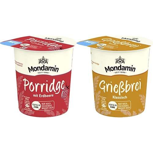 Mondamin Porridge mit Erdbeere für unterwegs vegetarisch, 8 x 70 g + Mondamin Grießbrei klassisch, 8 x 60 g