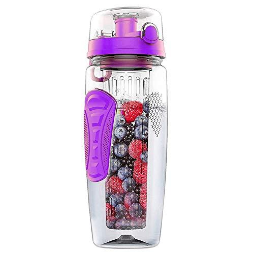 Mosako - Botella de agua de 1000 ml, infusor de fruta, botella de agua de plástico, para deportes Detox, apta para la oficina en casa al aire libre (morado)