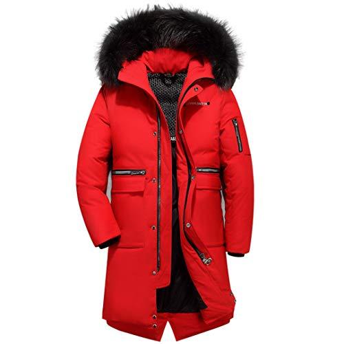 Männer und Frauen können Warm Pelzkragen Daunenjacke mit Kapuze zermürben Winter-Superdick Red XXL