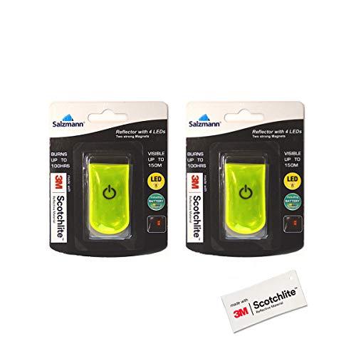 Salzmann 3M Reflektierendes LED-Blinklicht | LED-Magnetclip, Sicherheitslicht für Kinder und Erwachsene | Hergestellt mit 3M Scotchlite