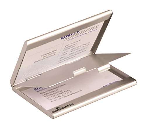 Durable Business Card Box - Tarjetero, plateado